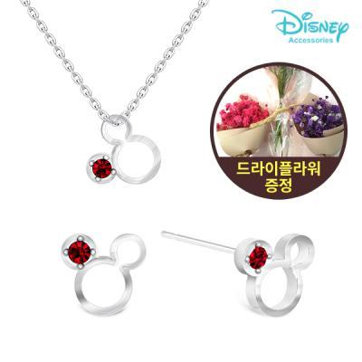 [주문제작]디즈니 탄생석 귀걸이+목걸이세트