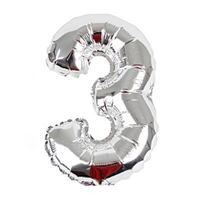 알파벳 숫자 은박풍선 (소) 실버 3