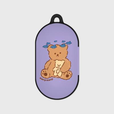 blue bird bear-purple(Buds hard case)