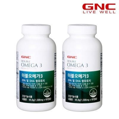 [GNC] 더블 오메가3 600mg 60캡슐(60일분)x2병