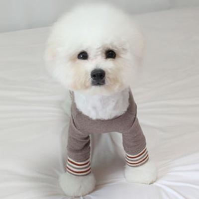 강아지옷 스트라이프 올인원