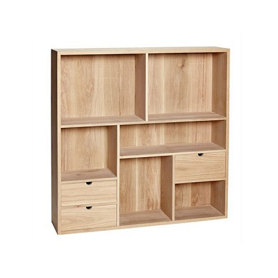 [Hubsch]Wall shelf w/6 compartments & 3 drawers, oak, nature 889001 수납장