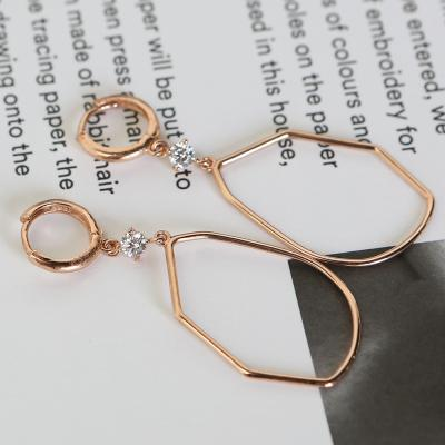 14K 드로잉 큐빅 원터치 귀걸이