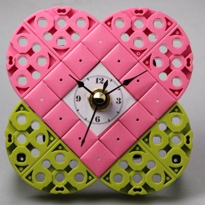 핑크하트 블럭시계 (170284) 블럭레고형시계