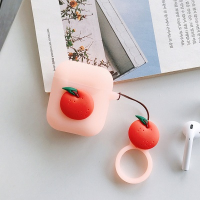에어팟 에어팟2 과일 실리콘 케이스 키링/320오렌지