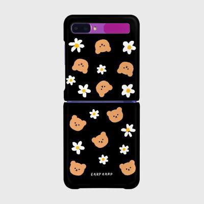 Dot flower bear-black(Z플립-하드)