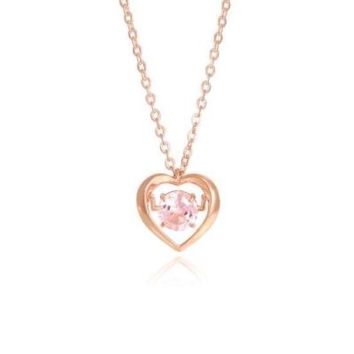 [심장박동] 시뮬렛다이아 핑크 하트스윙 실버 목걸이