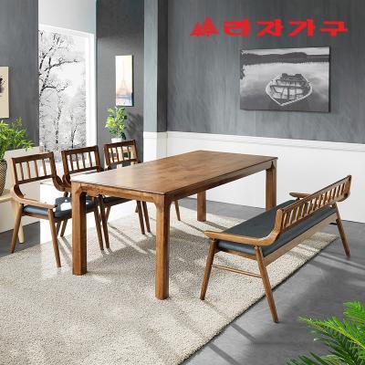 번버리 고무나무 원목 6인 식탁+벤치의자 세트