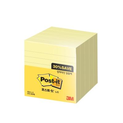 3M 포스트-잇 노트 알뜰팩 654-L-5(라인)