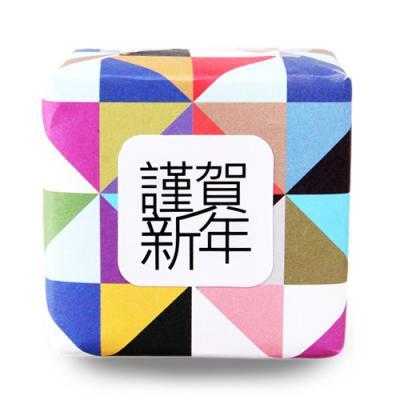 삼색 근하신년 정사각 라벨 (15개)
