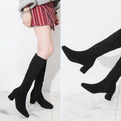[애슬릿]발 편한 둥근코 스웨이드 여성 롱 부츠 6cm