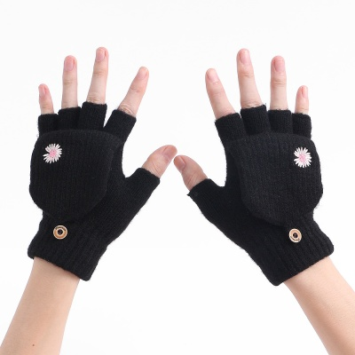 데이지 오픈형 벙어리장갑(블랙)/ 여성 니트장갑