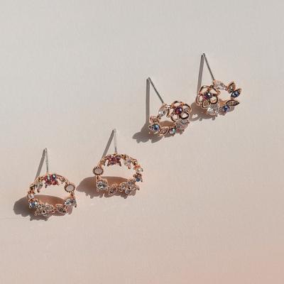 제이로렌 9M02425 안개꽃 오팔큐빅 라운드 꽃귀걸이