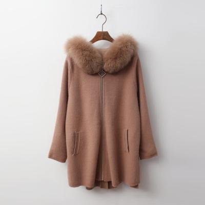 Fox Cashmere Wool Hood Unbal Warm Knit Coat