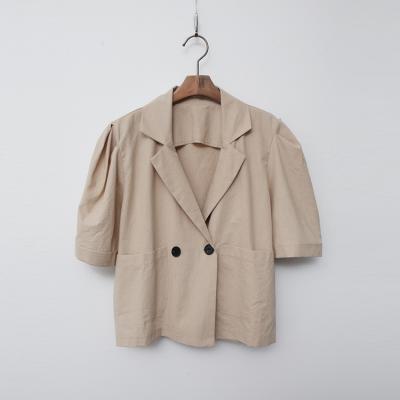 Linen Cotton Puff Crop Jacket