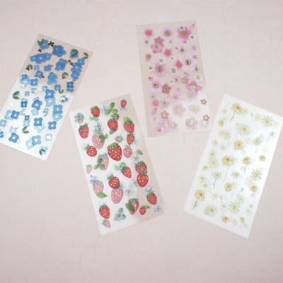 꽃시리즈 스티커 2장세트 벚꽃 데이지 딸기 목화