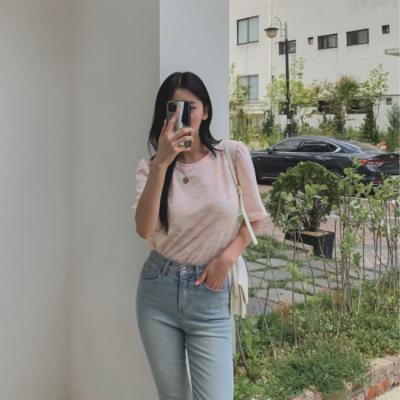 여성 데일리 여름 반팔티 티셔츠 틴 트위드 어깨셔링