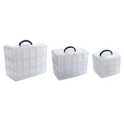 투명 3단 보관 깔끔한 정리 상자-대형