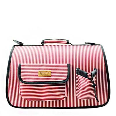 반려동물 외출 이동가방 줄무늬 핑크 M