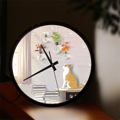 nf118-LED시계액자35R_꽃전구와고양이