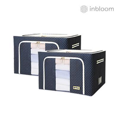 인블룸 1+1세트 도트 리빙박스 100L 네이비