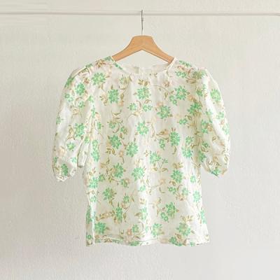 Green Flower Puff Blouse