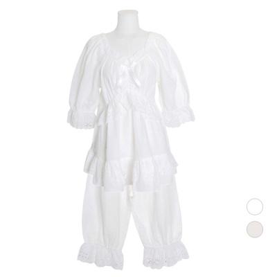 [쿠비카]레이스자수 이중거즈면 투피스 여성잠옷 W733