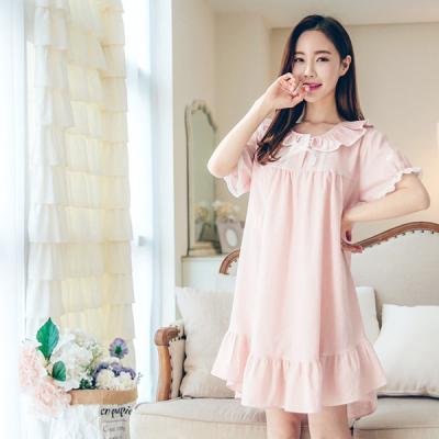 [쿠비카]프릴 넥 4라인 레이스 원피스 여성잠옷 W152