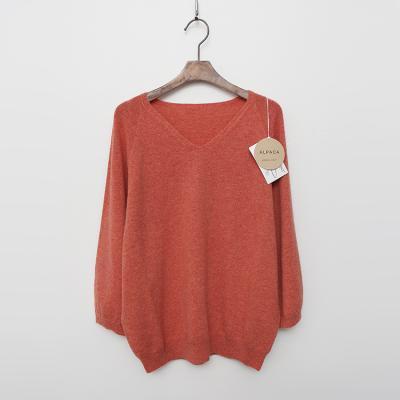 Maille Alpaca Wool V-Neck Puff Sweater