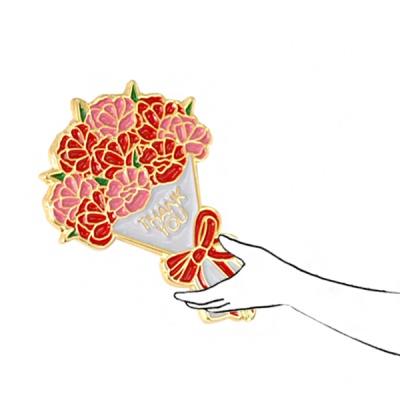 카네이션 꽃다발 뱃지