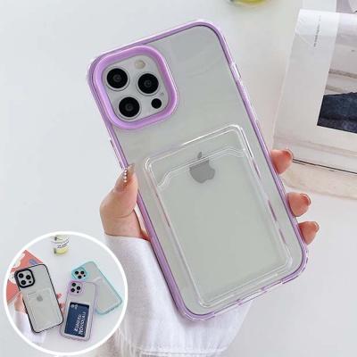 아이폰12 미니 11 pro max 컬러 라인 카드포켓 케이스