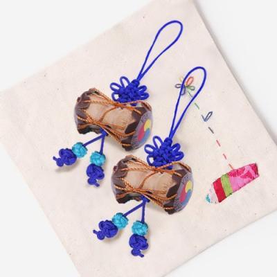 청색 작은 장구 매듭끈 (3개)