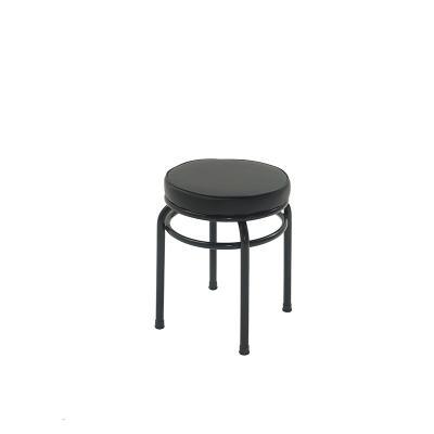 바들 블랙 프레임 원형 보조 스툴 의자 A형