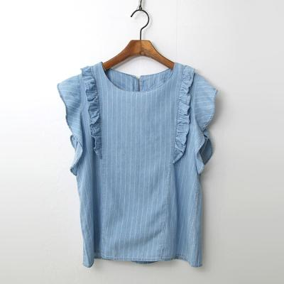 Summer Denim Frill Blouse