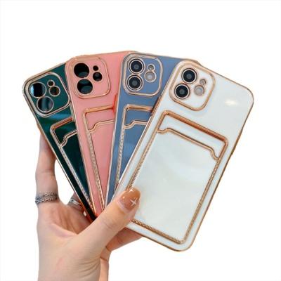 아이폰12 PRO MAX 골드라인 카드 지갑 실리콘 케이스