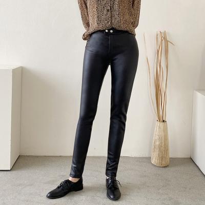 Black Faux Leggings Pants - 기모안감