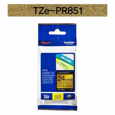 브라더정품 라벨테이프 TZe-PR851(24mm x 4M) (프리미엄골드바탕/검은색글씨)