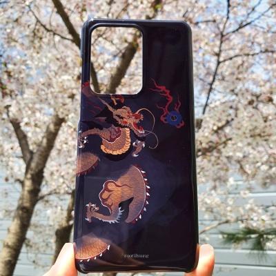 전통 명화 검은 구름 운룡도 좌형 흑색 휴대폰 케이스
