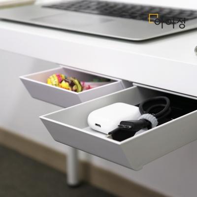 [2+1] 아이정 붙여서랍 접착식서랍 미니서랍 틈새수납-투명+투명:라벤더블루