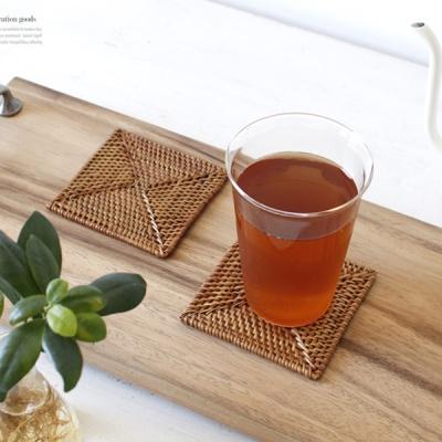 [2HOT] 라탄 사각 컵받침 1p