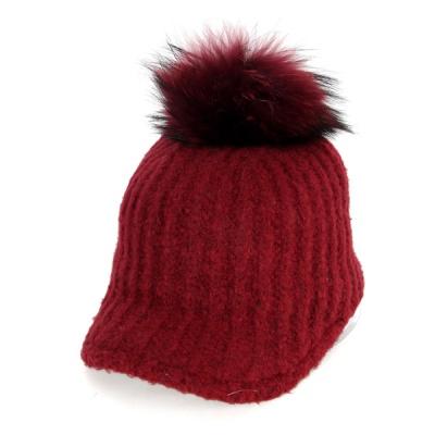 [디꾸보]방한 꽈배기 라인 방울 캡 모자 AC490