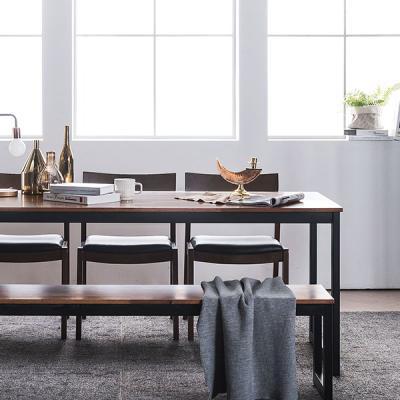 [채우리] 루킹 멀바우원목 6인식탁세트(의자/벤치)