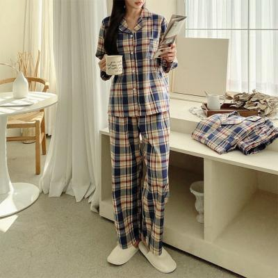 Gimo Beige Check Pajama Set - 커플룩