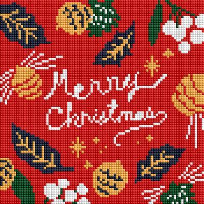 메리 크리스마스 (캔버스형) 보석십자수 25x25