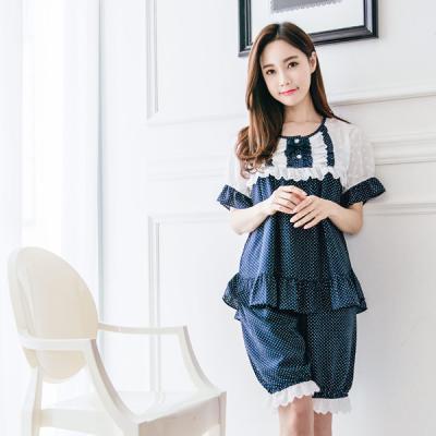 [쿠비카]큐티 리본 화이트 도트 투피스 여성잠옷 W181