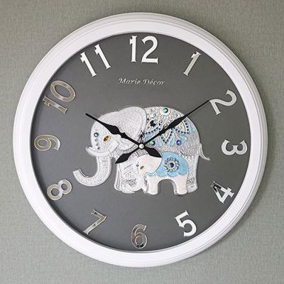 예쁜 인테리어 Wall Clock 미러넘버 코끼리 실버