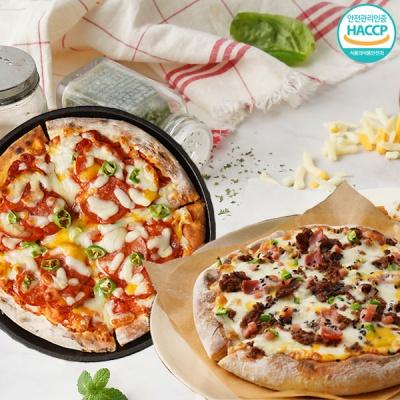 화덕에 구워낸 바베큐 불고기피자+매운 페페로니 피자