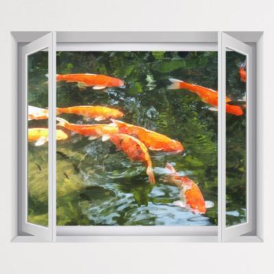 iy784-초록연못의풍수잉어_창문그림액자(중형)