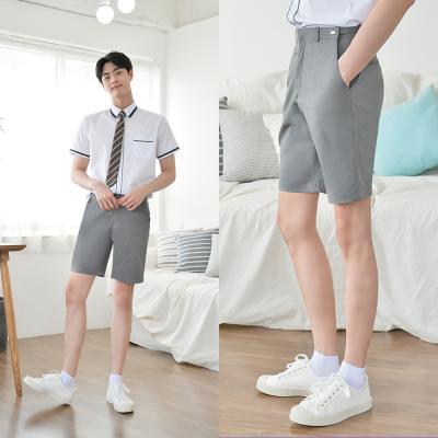 [빅사이즈]허리조절 연그레이 교복 반바지(남자) ~6XL