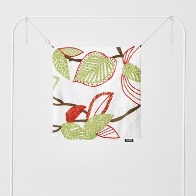 나뭇잎 아플리케 자수 쿠션커버, 화이트/그린 50 X 50